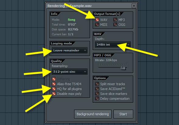 WAV Rendering Settings for Mastering